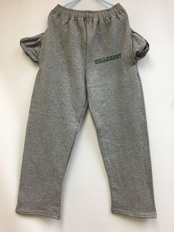 Grey sweatpants with super soft interior, pockets, and Hillcrest across top of left leg